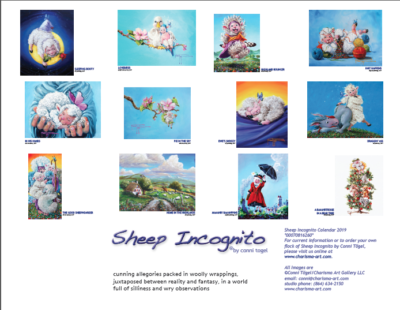 Thumbnail Page, back of 2019 Sheep Incognito Calendar